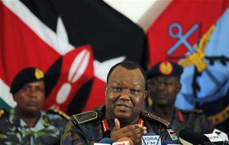 Kenya's Chief of the Defence Forces General Karangi addresses a media briefing at the Defence headquarters in Nairobi