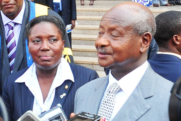 Uganda monitor Speaker Rebecca Kadaga and President Museveni at a function in 2012