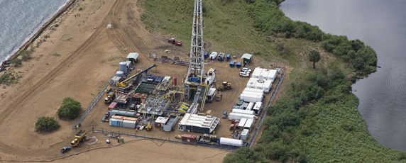Handout aerial view of an oil exploration site in Bulisa district